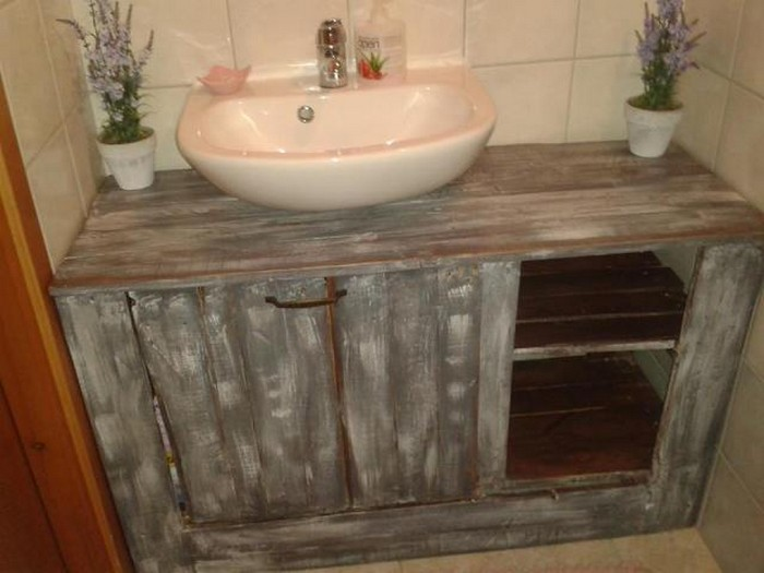 Pallet wood bathroom projects pallet wood projects for Bathroom ideas made from pallets