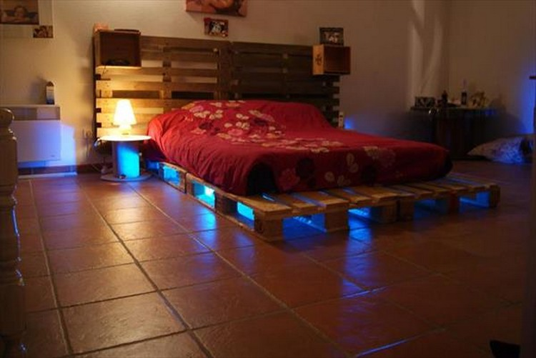 Pallet Bed with Blue Lights