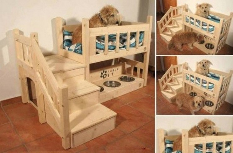 Wooden pallet dog bed plans pallet wood projects for Pet bunk bed gallery