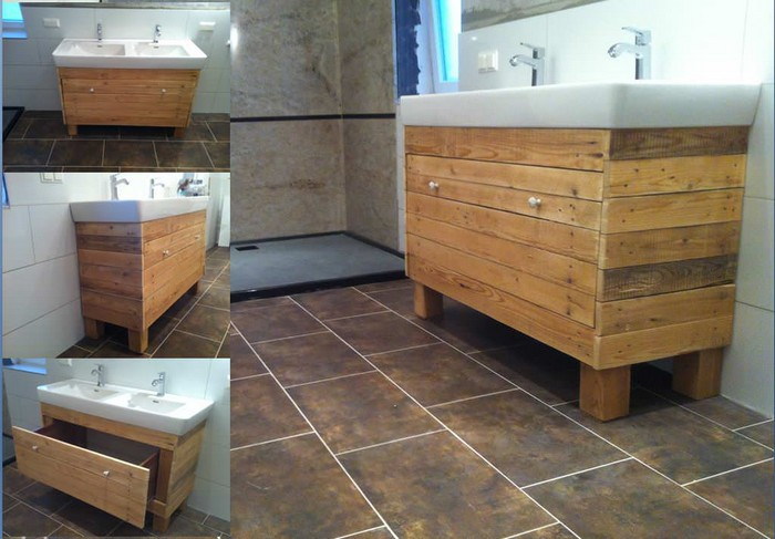 Pallet wood bathroom projects pallet wood projects - Meuble salle de bain palette ...
