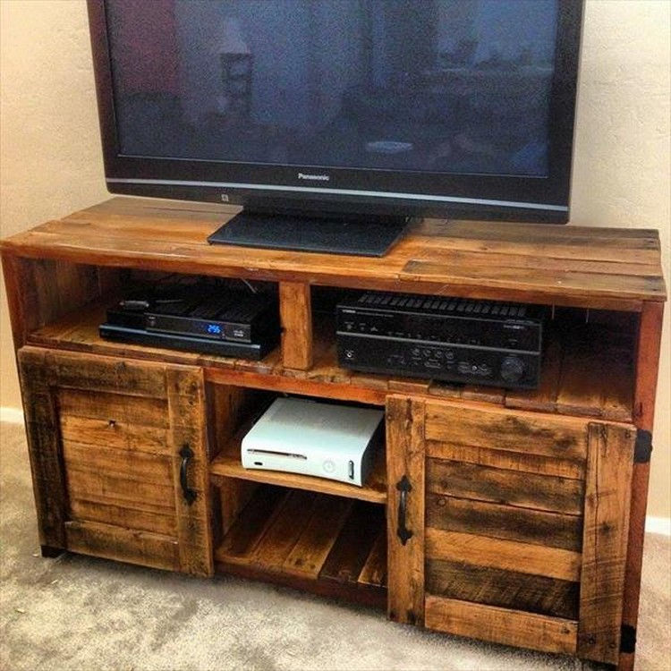 Tv Stand Designs Wooden : Recycled pallet tv stand plans wood projects
