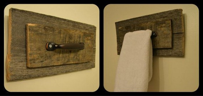 Pallet Towel Hanging Shelf