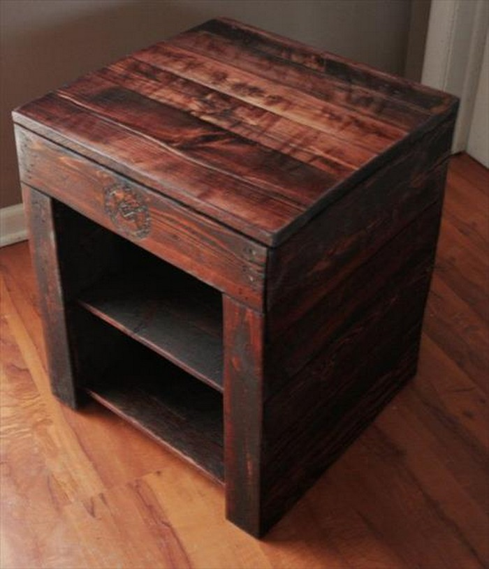 Diy pallet wood side table plans pallet wood projects Simple bedside table designs