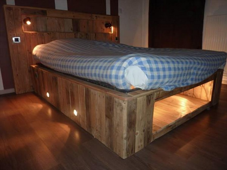 Upcycled Pallet Bed with Lights