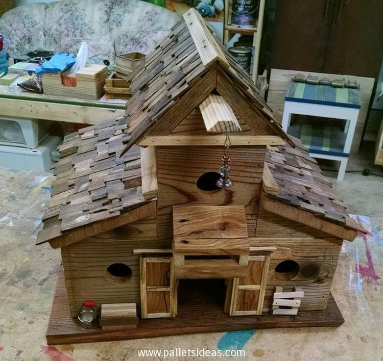 Pallet wood birdhouse plans pallet wood projects for House projects plans