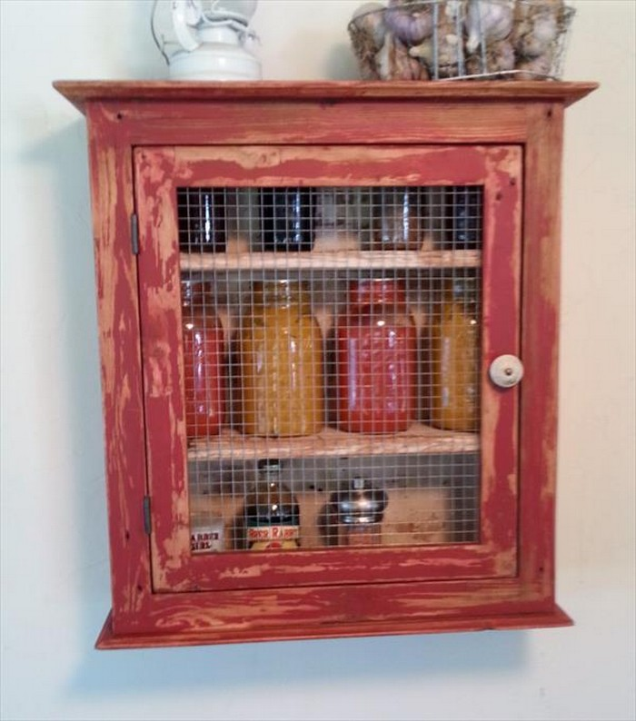DIY Painted Pallet Kitchen Cabinet