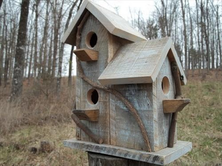 Pallet-Birdhouse-Idea Pallet Wood Bird Houses Plans on wooden bird house plans, build bird houses plans, wood pallet birdhouse, diy bird houses plans, wood duck bird house plans,