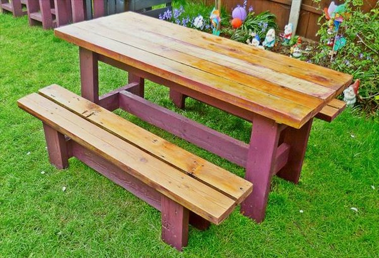 Pallet Garden Benches with Table