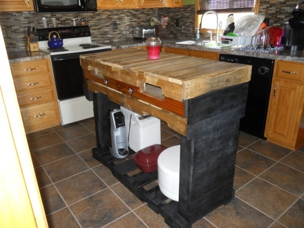 Recycled pallet kitchen island table ideas pallet wood for Pallet kitchen ideas