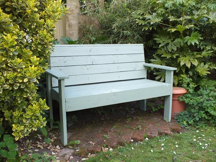 Pallet Painted  Garden Bench