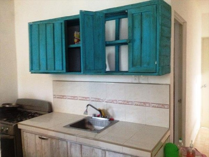 Kitchen cabinets made from pallets pallet wood projects for What kind of paint to use on kitchen cabinets for recycled wall art