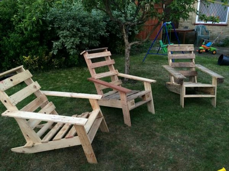 Pallet Wood Adirondack Chairs