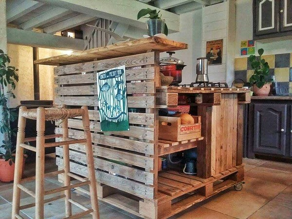 Recycled Pallet Kitchen Island Table Ideas | Pallet Wood Projects