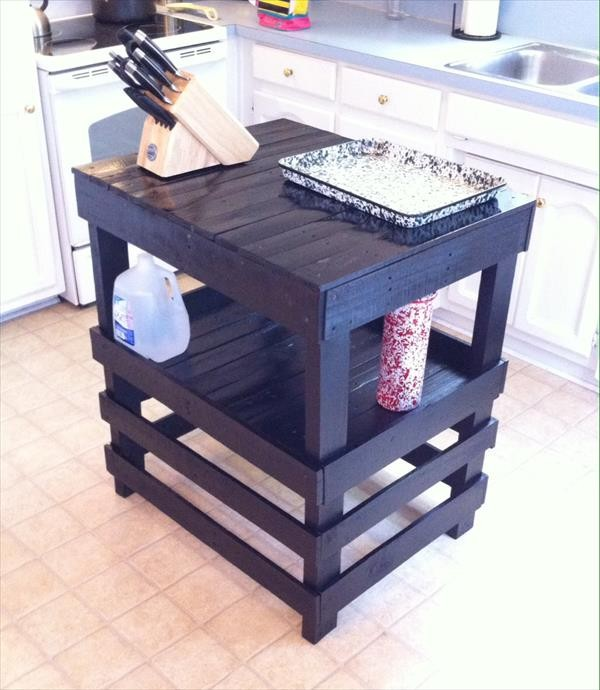 Recycled pallet kitchen island table ideas pallet wood for How to make a pallet kitchen table