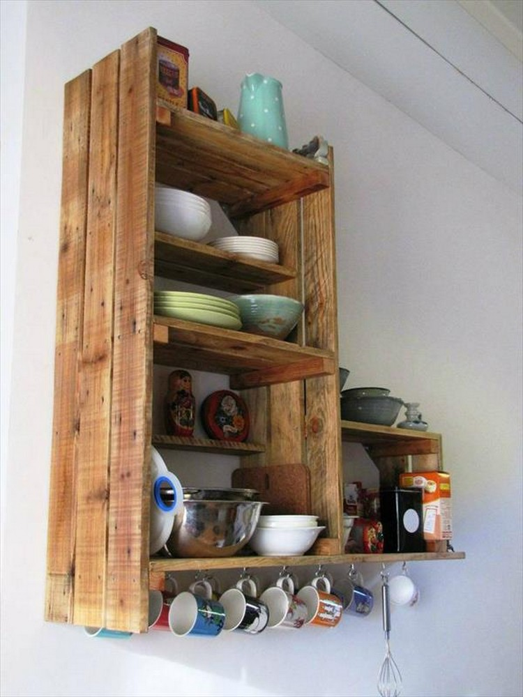 Wooden Pallet Kitchen Shelf