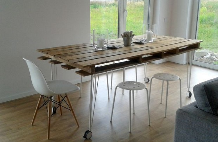 13 perfect wooden pallet dining table ideas pallet wood for Table haute palette