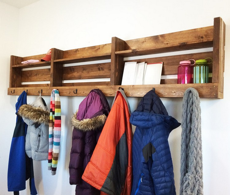 Pallet Coat Rack with Storage Shelves