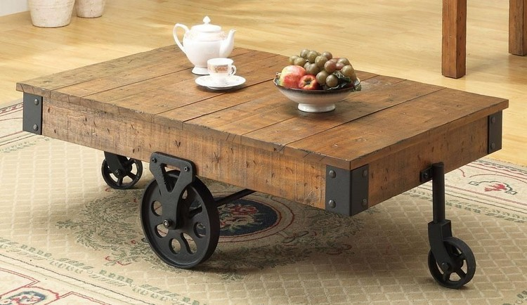 Pallet coffee table on wheels pallet wood projects for Coffee tables on wheels