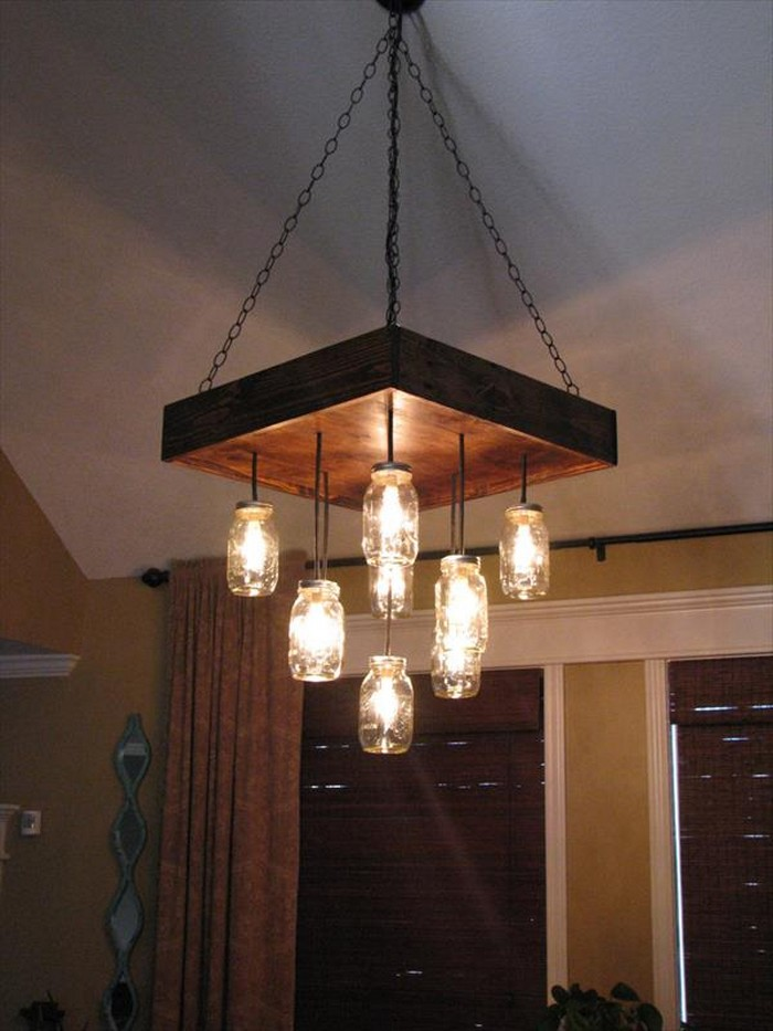 Pallet Made Chandelier