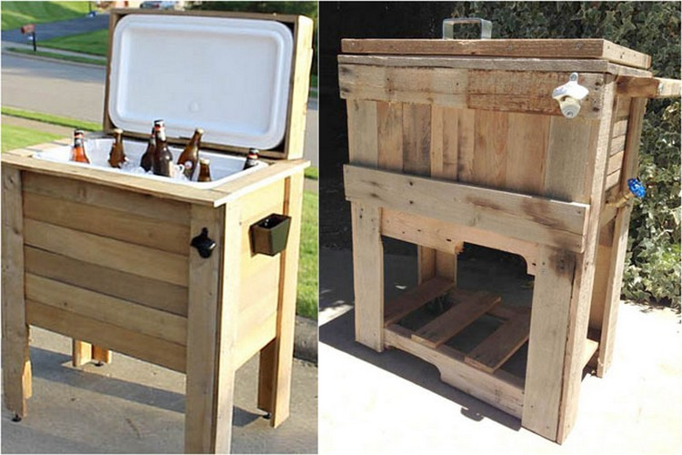 Wooden pallet cooler designs pallet wood projects for Outdoor wood projects ideas