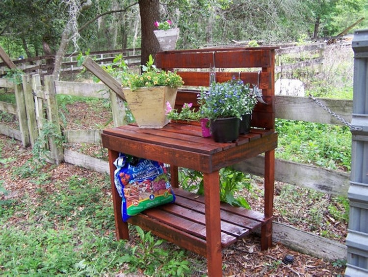 Pallet potting bench plans pallet wood projects for Diy garden table designs