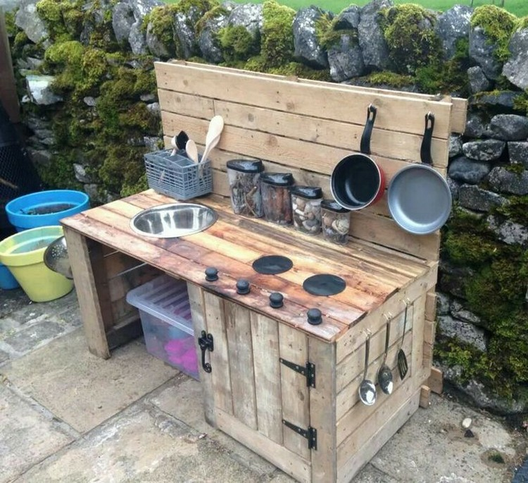 Recycled pallet wood outdoor kitchen pallet wood projects for Plans for outside kitchen