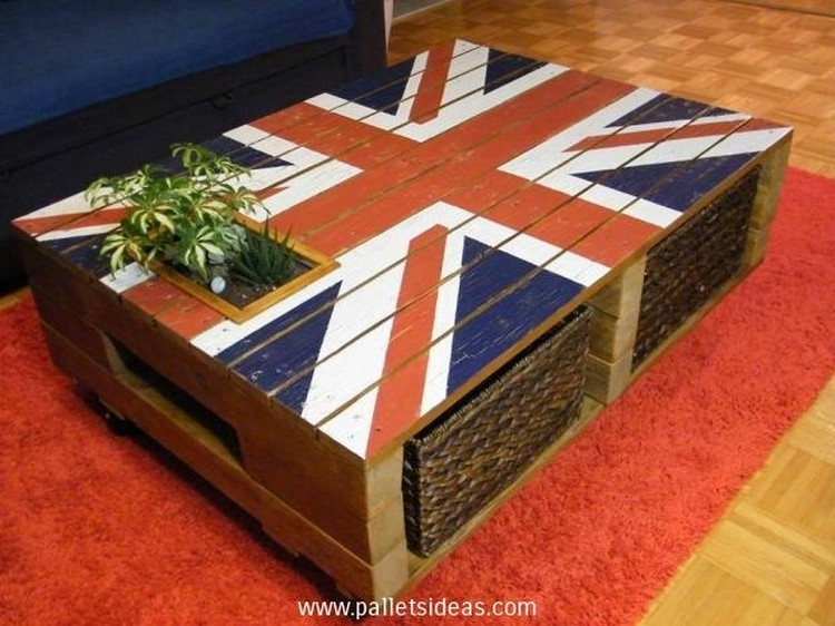 Recycled Pallet Coffee Table with Planter