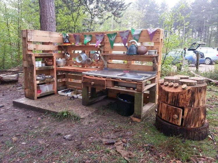 recycled pallet wood outdoor kitchen pallet wood projects. Black Bedroom Furniture Sets. Home Design Ideas