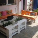White Pallet Planter Table with Sofa