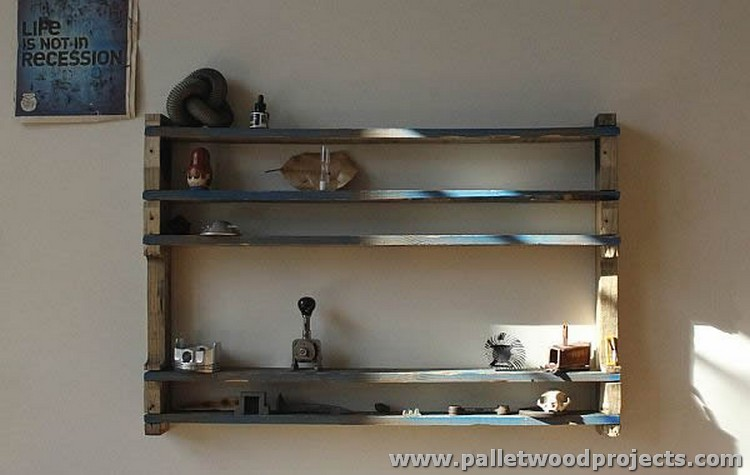Living Room Pallet Shelves