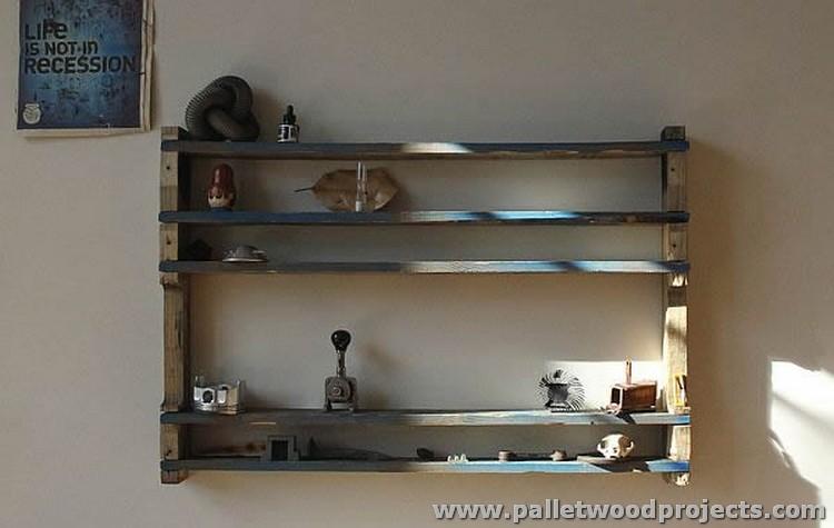 Living Room Pallet Shelves