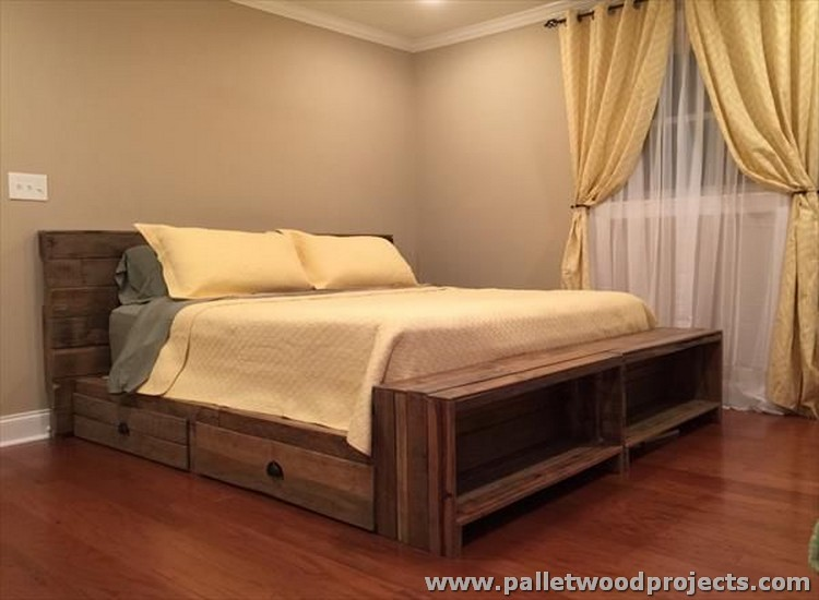 Pallet Bed with Storage Plans | Pallet Wood Projects