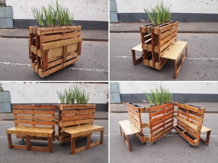 Pallet Benches with Planters