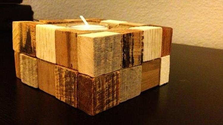 Pallet Block Candle Holder