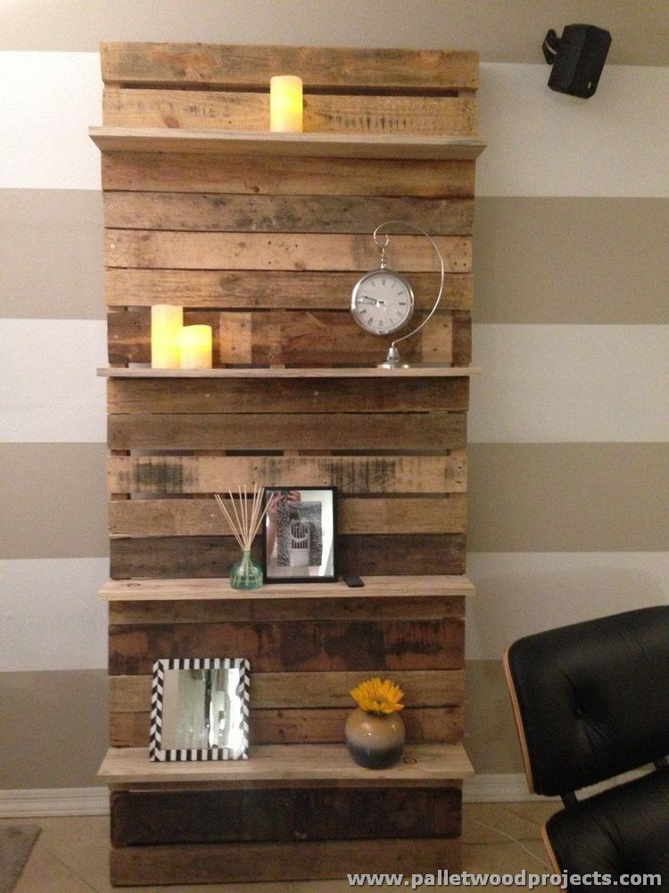 shelves made with wood pallets pallet wood projects. Black Bedroom Furniture Sets. Home Design Ideas