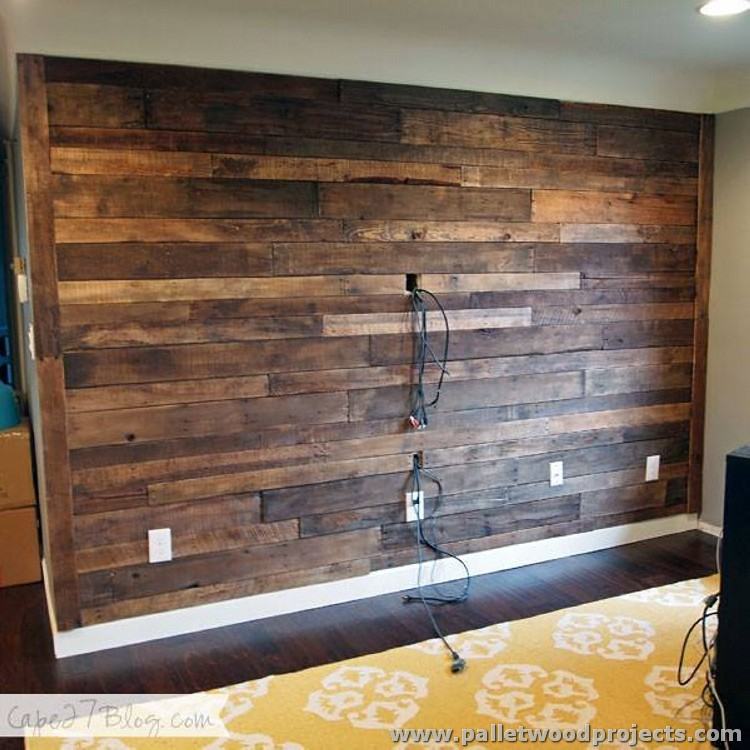 Wood Feature Accent Wall Ideas Using Flooring: Accent Wall Made Out Of Pallets