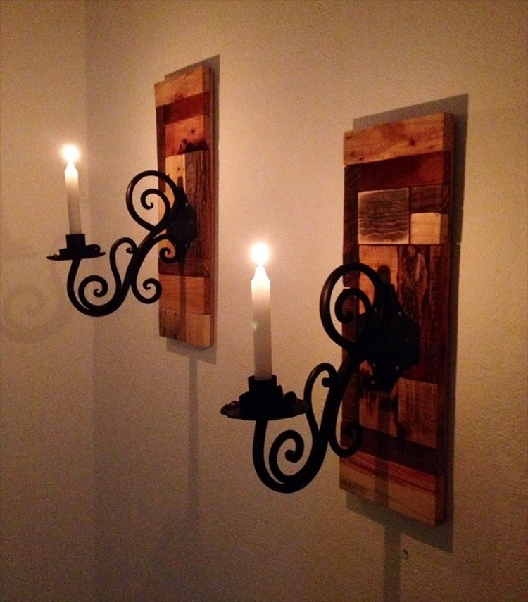 Pallet Wall Candle Holders