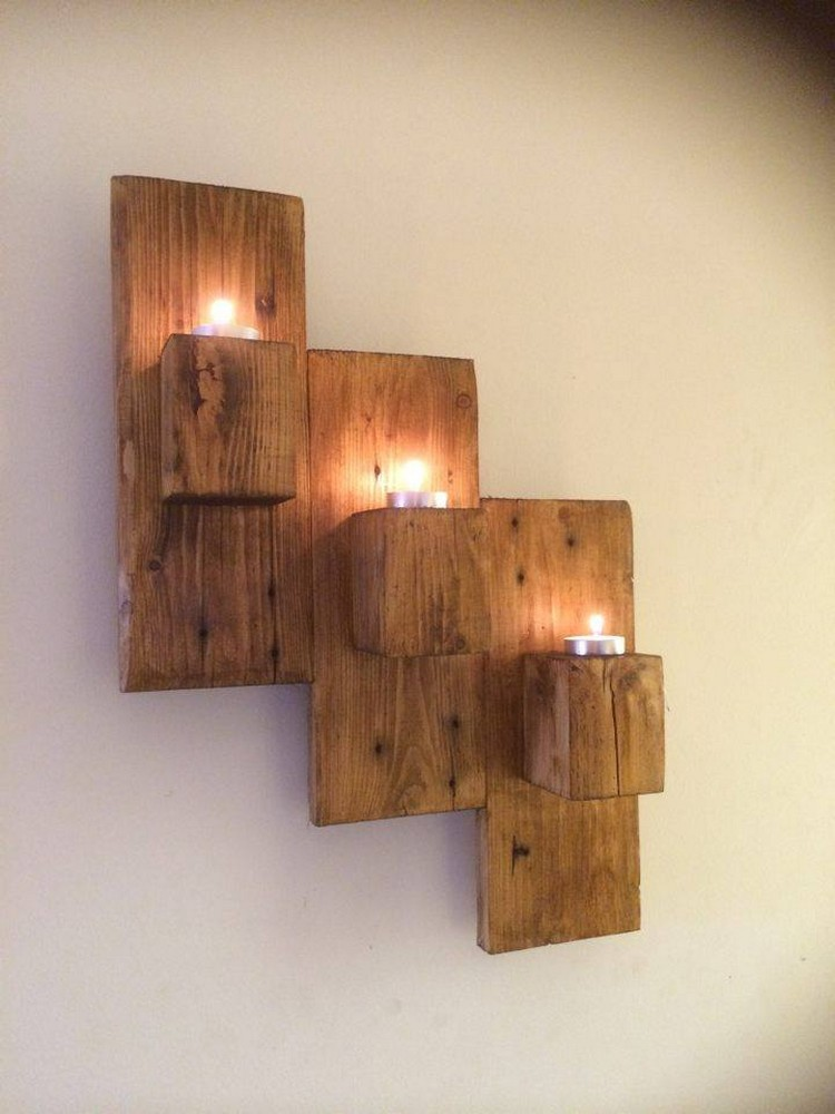 Pallet Wall Hanging Candle Holder