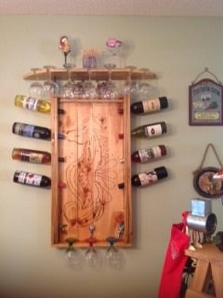 Pallet Wine Rack with Glass Storage