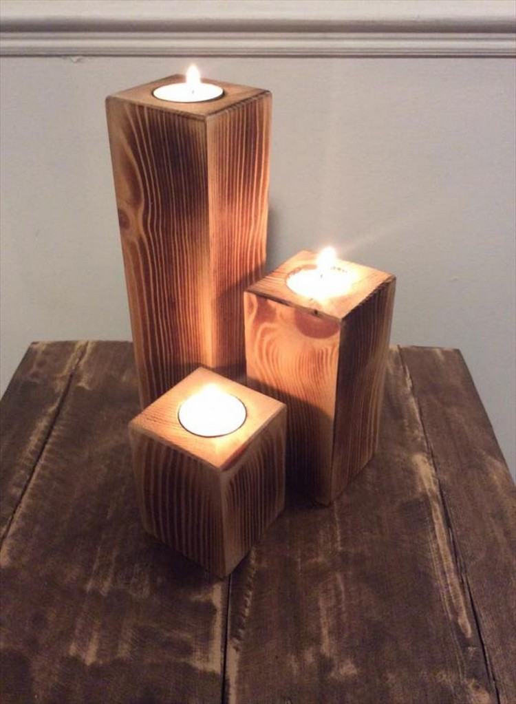 Pallet wood candle holders pallet wood projects Wood candle holders