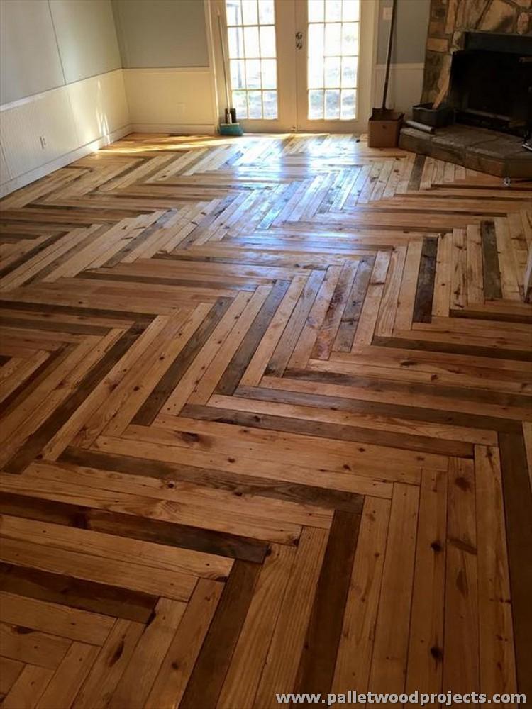 Chevron Style Pallet Flooring