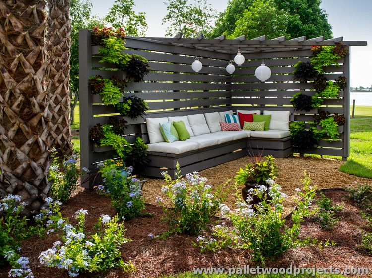 Garden Pergola Deck Made from Pallet Wood