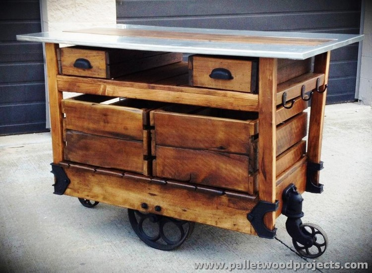 Mobile Pallet Kitchen Island on Wheels