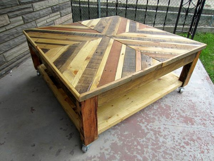 Pallet Chevron Coffee Table with Wheels