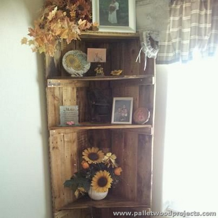 Pallet Corner Shelf Idea