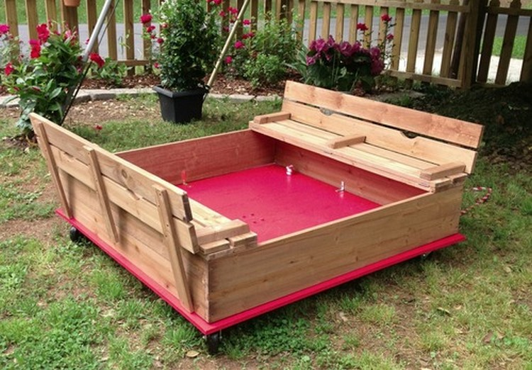 Pallet Sandbox on Wheels