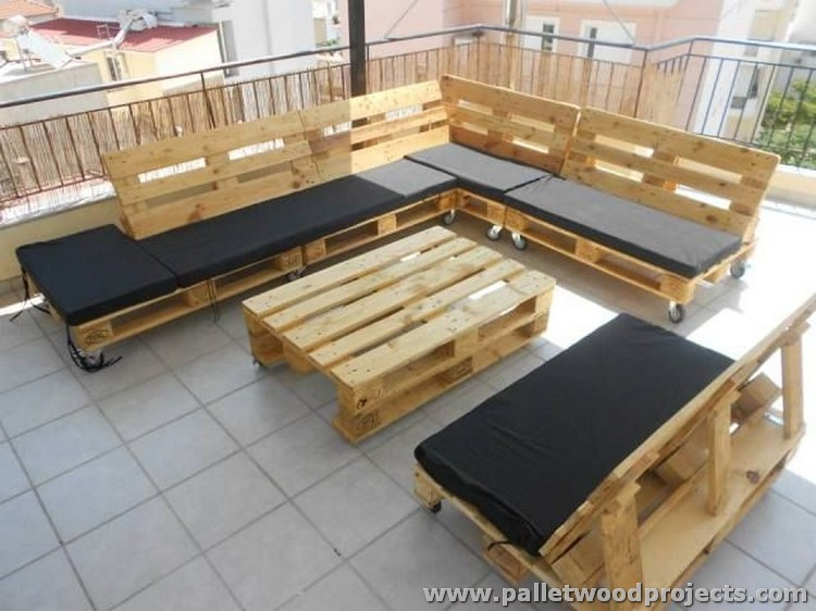 Pallet Sectional Sofa on Wheels