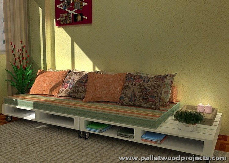 Pallet Sofa on Wheels with Book Storage