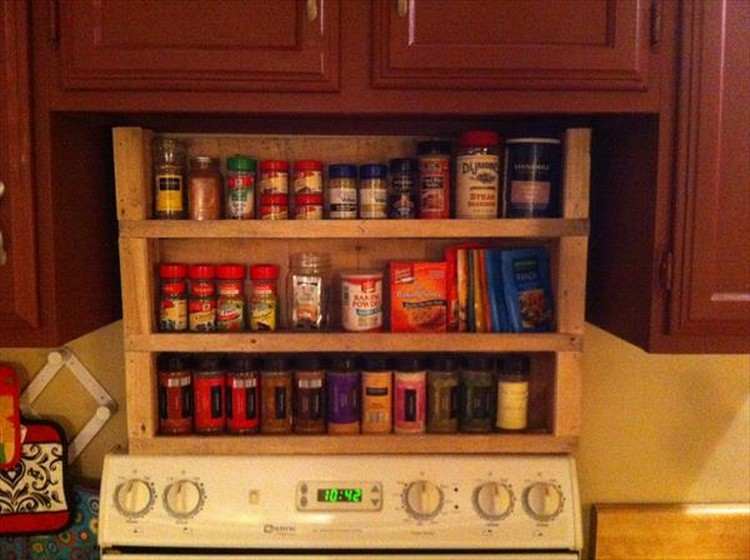 Pallet Spice Rack for Kitchen