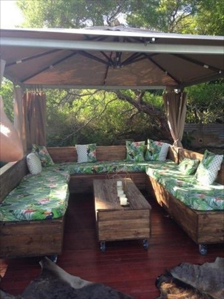 Pallet U Shaped Couch Under Gazebo
